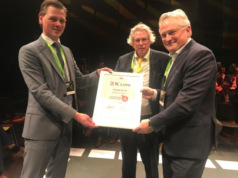 "LEFT Rogier Spoel of EVO FENEDEX, Middle Steven Lak <br/>Chairman EVO FENEDEX, <br/>Right Fer Penders Managing Director<br/>""K"" Line (Nederland) B.V receiving the Award."